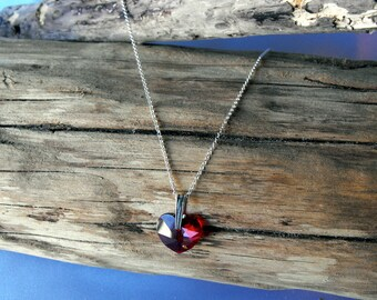 Sterling Silver Necklace with a Swarovski Red Heart (BD-888)