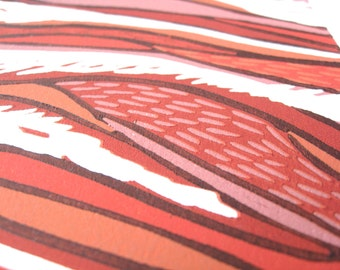 """Woodcut Print """"Sky Warning"""" Weather Storm Red"""