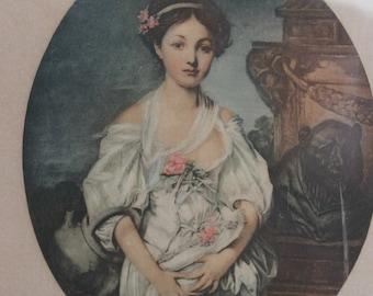 Framed Antique Lithograph - La Cruche Cassee - Grueze