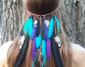Rain Dance, Feather, headband, hippie, bohemian, wedding, veil, turquiose, blue, purple, boho, gypsy, edm