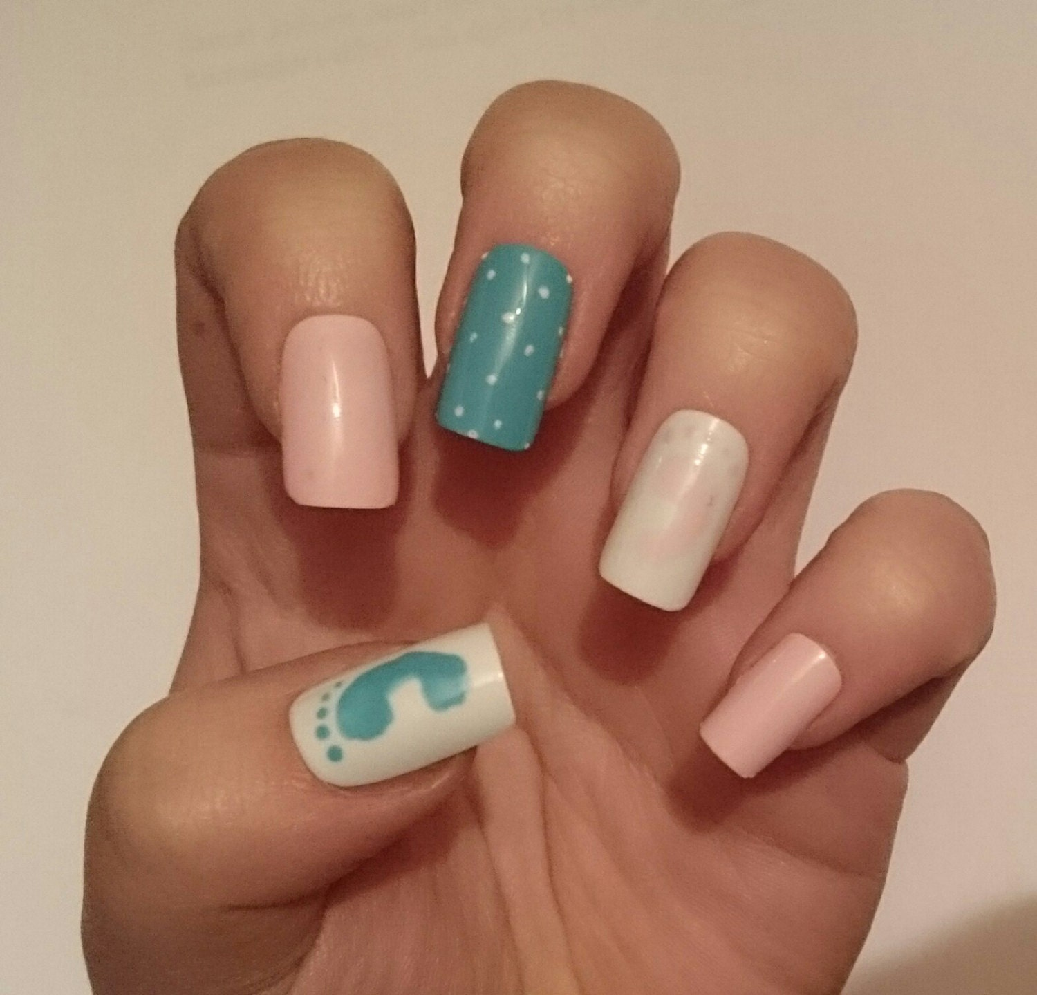 baby shower false nails it 39 s a girl it 39 s a by nicolasnails14
