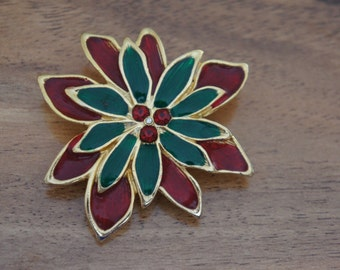Vintage  Jewelry Brooch Pin  Chistmas Flower Red Green E-090