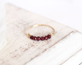 Garnet Bead Bar Ring - Stacking Ring - January Birthstone Ring - Garnet Jewelry - Dark Red Ring - Gemstone Ring Birthstone Jewelry Gold Ring