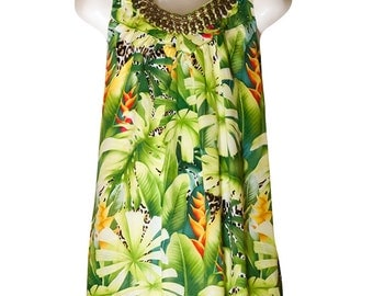 Cotton tropical print dress/top for 4-6yrs