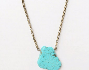 Turquoise slab necklace on brass ox chain
