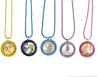 Peter Rabbit Kids Party Favor Necklace, Keyrings and Zipper pulls  Set Of 5