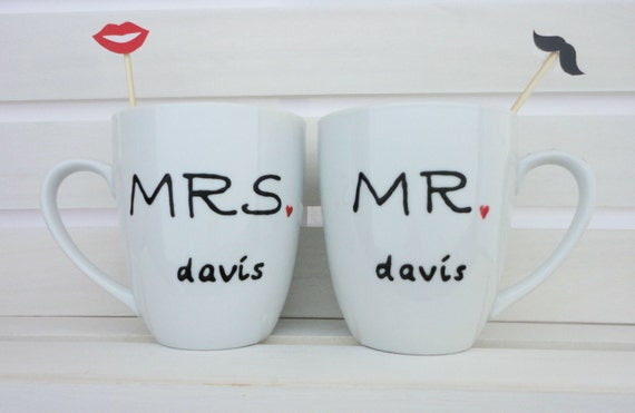Personalized Coffee Mugs Wedding Gift : Personalized Wedding Gift Ceramic Mugs Custom Coffee MugsBridal ...