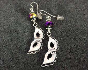 Mardi Gras Mask Silver Earrings.