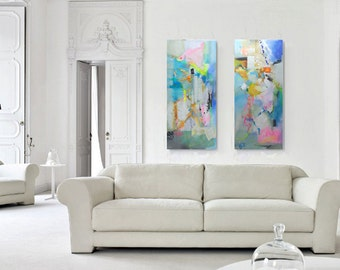 Diptych Painting Large Abstract Painting, Abstract Painting Canvas Art, Canvas Art Acrilic Painting, Mixed Media Wall Art, Expressionist