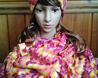 SALE - Fleece Hat / Scarf set.  Pink & Yellow patterned.  HSC101