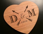 Heart Shaped Bamboo Cheese Cutting Board Laser Engraved with Initials and Arrows