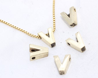 Raw Brass Letter Initial Tiny Pendant, 8x10mm , Upper Case , Alphabet, Capital letter, Personalized - Polished Letter - V -