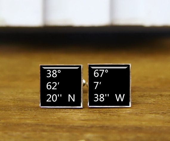 square cufflinks, custom longitude and latitude cufflinks, personalized cufflinks & tie clips, wedding gifts, monogram square cuff links