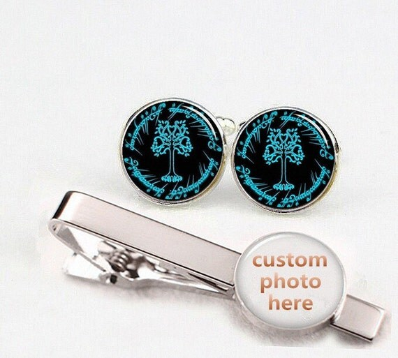 White Tree Cufflinks, life tree cufflinks, tree of life, custom round or square cufflinks, tie clips set, wedding cufflinks, movie cufflinks