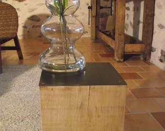 Stool nightstand end table in oak topped with a metal plate 25 x 25 x 40 cm