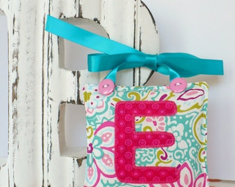 Personalized girls tooth fairy pillow, Turquoise and pink custom lost tooth pouch, lost tooth pillow, toothfairy door hanger
