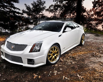 Poster of Cadillac White Left Front CTS-V HD Print