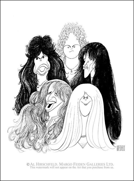 AL HIRSCHFELD'S Aerosmith Hand Signed by Al Hirschfeld C