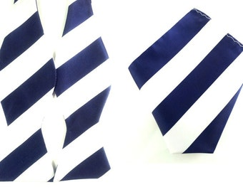Navy Blue Silver Thin Striped Self Tied Bowtie Pocket Square.Combo Bowtie Pocket Square.Untied Bow Tie Hanky. Wedding Bowtie Pocket Square.