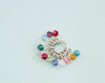 Add a Wire Wrapped Swarovski Birthstone Crystal - Hand Stamped Jewelry