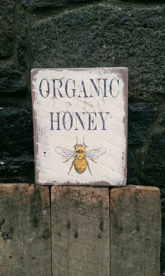 Organic Honey Farm Sign With Honey Bee On Reclaimed Rough