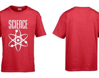 Science Logo Childrens Boys Girls Cotton T-Shirt Retro Geek Nerd Teaching Teach Learning NEW
