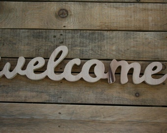 WELCOME wooden sign, home decor, word art, handwritten,cursive, typography, woodworking, wood sign, WELCOME