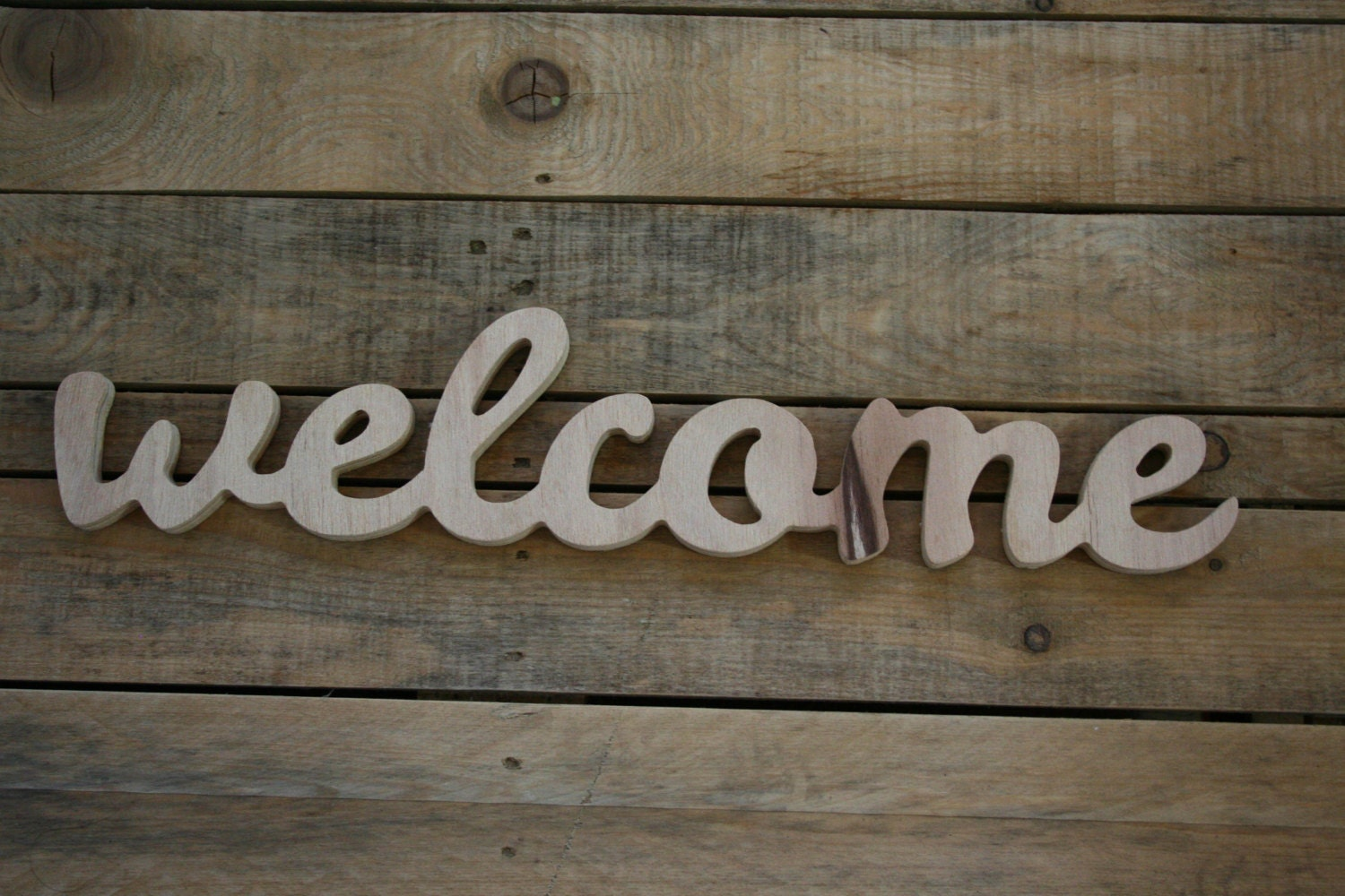 WELCOME wooden sign home decor word art by AnkaSupplyCo Etsy