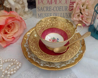 Enchanting Vintage Aynsley Gold Gilt Chintz Foral Tea Trio Tea Cup Saucer Dessert Plate #201