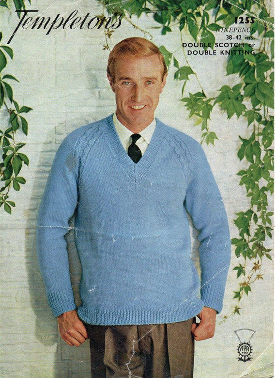 Mens Knitting Pattern Mens Cable Raglan Sweater Mens by Hobohooks