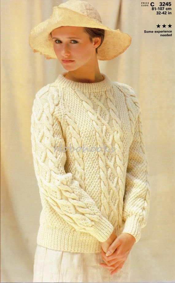 Ladies Knitting Pattern ladies aran sweater crew neck aran