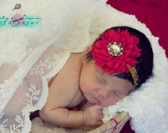 Red & Gold Vintage Baby Newborn Flower Headband  ~ Baby Newborn Photo Prop ~ Baby Headband
