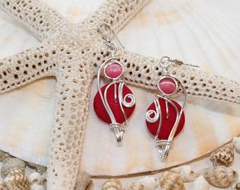 Hot Pink Earrings, Pink Dangle Earrings, Fuchsia Earrings, Bright Colors, Fuchsia Jewelry, Summer Colors, Boho Chic, Colorful Jewelry