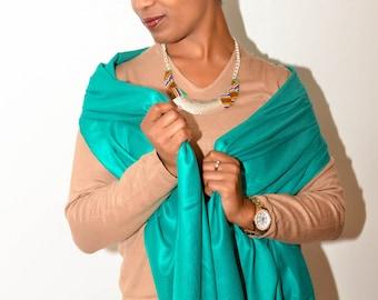 Teal Wedding Pashmina shawl  -teal bridesmaid's shawl- teal bridal Shawl - wedding pashmina - party favors
