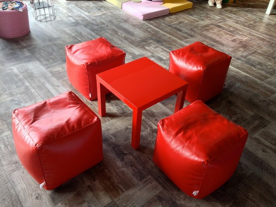 bean bag red bean bag chairs cube genuine leather bean bag. Black Bedroom Furniture Sets. Home Design Ideas