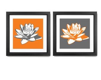 Lotus Print - Flower Wall Decor - Flower Wall Art - Modern Flowers Print - Flower Art - Nature Print - Lotus Wall art - Set Of 2 Prints