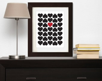 Hearts Print , Love Print , Printable Art , Printable Wall Art , Digital Print , Love Printable , Heart Wall Print , Valentines Print,