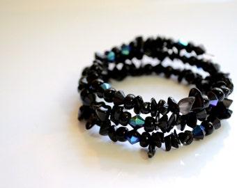 Black Acrylic Bead Memory Wire Bracelet, black bead memory wire bracelet, black acrylic bead bracelet