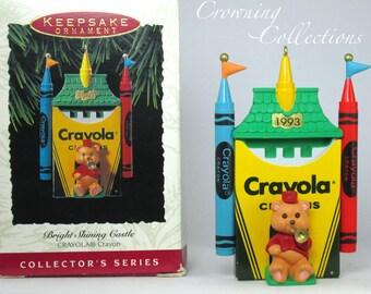 1993 Hallmark Bright Shining Castle Keepsake Ornament Crayola Crayons #5 Series Christmas Teddy Bear
