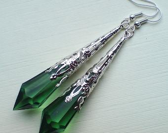 Victorian Silver Earrings , Green Teardrop Earrings , Green Earrings , Filigree Earrings , Gothic Earrings , Dangling , Statement Earrings