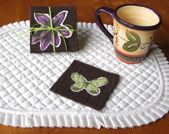 Felted wool coasters, mug rugs, with butterflies and flowers