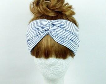 Embroidered headband, Hair Wrap, workout headband, Women's headband, Twist turban, knot headband, yoga headband