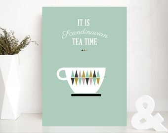 items similar to tea time poster on etsy. Black Bedroom Furniture Sets. Home Design Ideas
