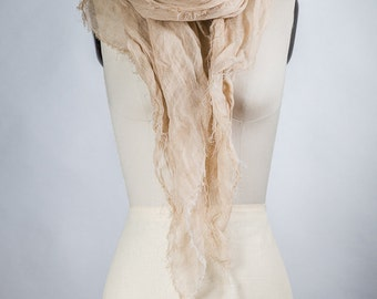 Light Beige / linen Scarf On Sale / Womens Long scarf /  very Soft Hand Made 100% lInen Scarf