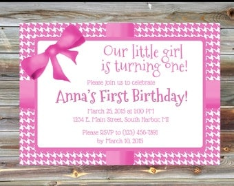 Pink Houndstooth Girl Birthday Party Invitation - Printable Custom First Birthday Party Invitation for Girl - Pink 1st Birthday Invitation