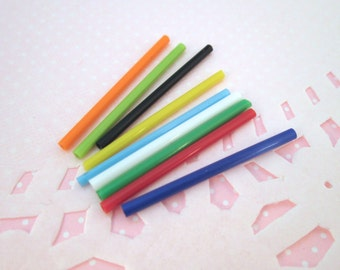 Multicolor Glass Straws - Rainbow Mix of Dollhouse Prop Straws, #262