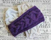 30% OFF SALE>>>Knitting Headband Ear Warmer Lilac Cable headband Fall Hair Band Knit Fashion Accessory Mother'sDay Gift Customize Your Order