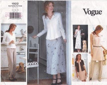 Vogue Sewing Pattern 1922 A-Line V-Neck Dress, Tunic, Front Button Top and Pants Size 14 16 18