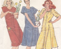 Smock House Robe Lounge Wear Casual Front Button Dress Butterick Sewing Pattern 3576 Size Large
