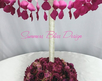 Tall Suspended Floral Flower Chandelier Event Centerpiece with Adjustable Covered Stand and Floral Base